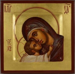 Hand-Painted Byzantine Icon of Theotokos Eleusa Miniature