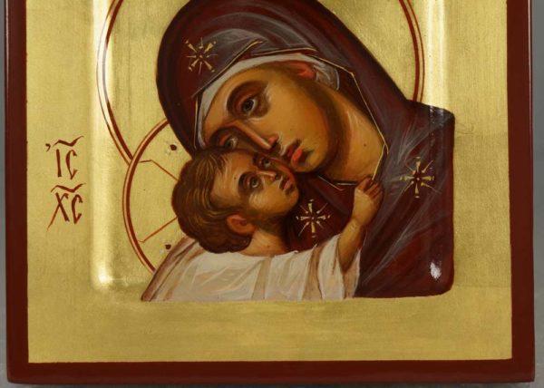 Hand-Painted Byzantine Icon of Theotokos Eleusa Miniature