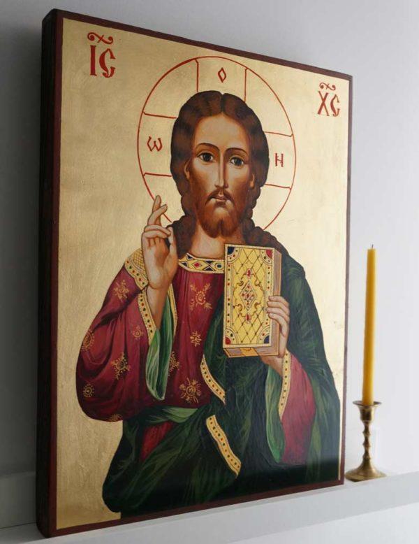Jesus Christ Pantocrator - Closed Book Hand-Painted Orthodox Icon