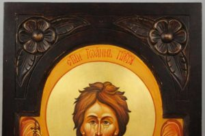 St John the Baptist Hand-Painted Orthodox Icon on Carved Wood Russian Icon
