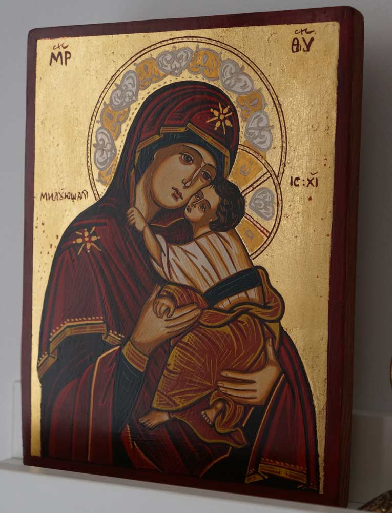Virgin Mary Sweet Kissing Hand-Painted Icon