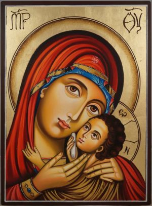Hand-Painted Icon Theotokos Sweet Loving (Eleusa)