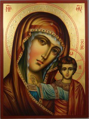 Hand-Painted Orthodox Icon of Kazanskaya Mother of God (halo relief)