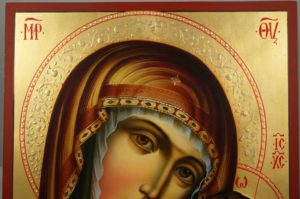 Hand-Painted Orthodox Icon of Kazanskaya Mother of God (halo relief)
