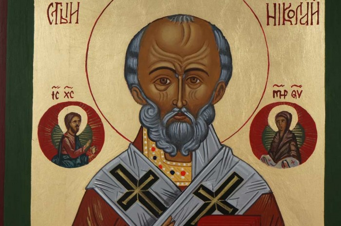 St Nicholas the Miracle Worker Hand Painted Orthodox Icon on Wood