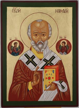 St Nicholas the Miracle Worker Icon Hand Painted Byzantine Orthodox