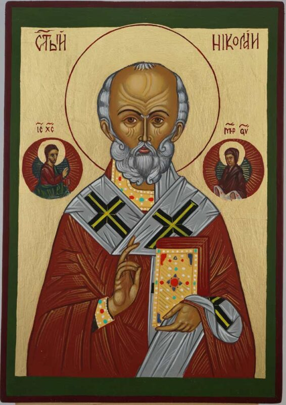 St Nicholas the Miracle Worker Icon Hand Painted Orthodox Byzantine
