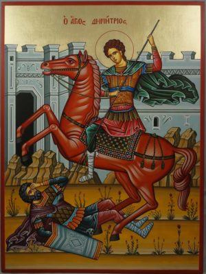 St Demetrios the Myrrh-Streamer Hand-Painted Greek Orthodox Icon
