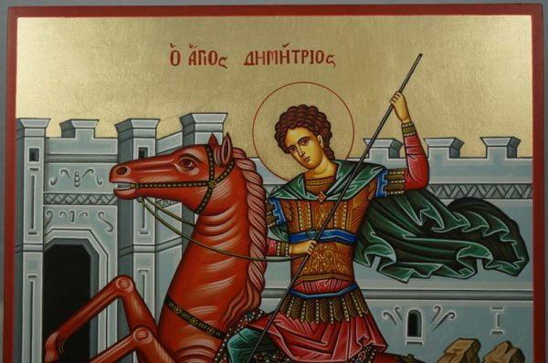 St Demetrios the Myrrh-Streamer Hand-Painted Greek Orthodox Icon
