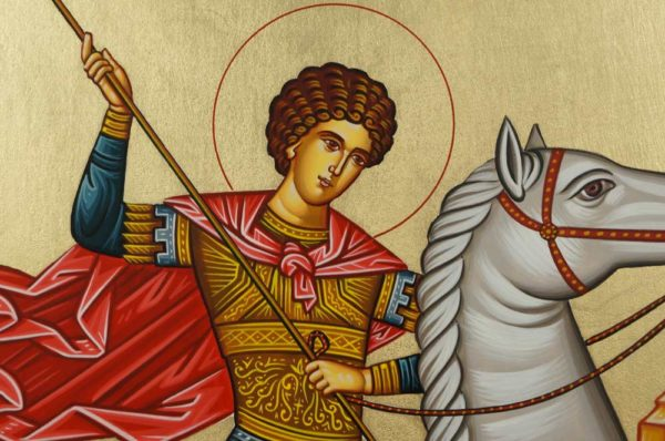 St George Slaying the Dragon Hand-Painted Greek Orthodox Icon