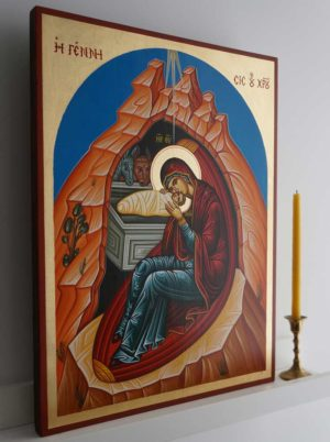 Nativity of Our Lord and Savior Jesus Christ Hand-Painted Byzantine Icon