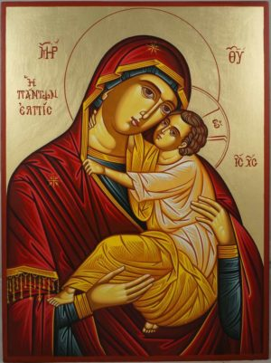 Theotokos Eleusa Hand-Painted Greek Orthodox Icon