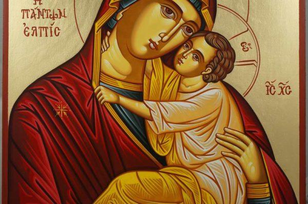 Theotokos Eleusa Hand-Painted Greek Orthodox Icon