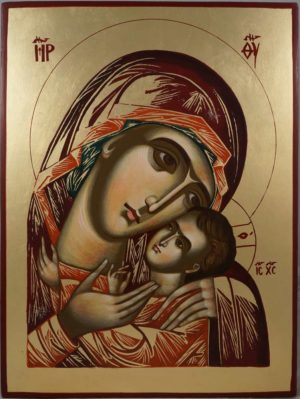 Virgin Mary Theotokos Tender Mercy Hand-Painted Orthodox Icon