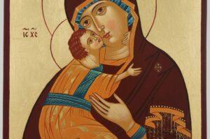 Virgin Mary Vladimirskaya Icon Hand Painted Byzantine Orthodox
