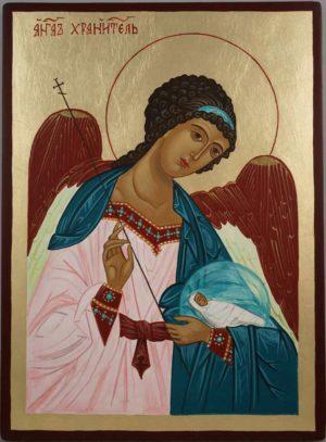 Guardian Angel Hand Painted Byzantine Orthodox Icon