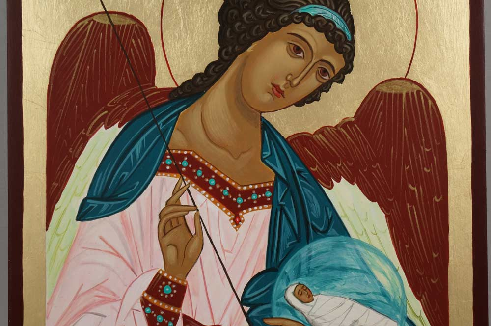 Guardian Angel Hand Painted Byzantine Orthodox Icon