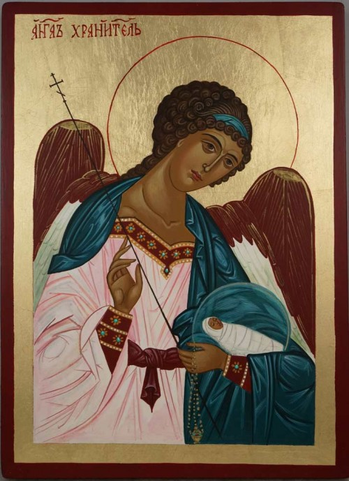 Guardian Angel Hand Painted Orthodox Icon on Wood