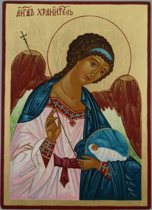 Guardian Angel Icon Hand Painted Byzantine Orthodox