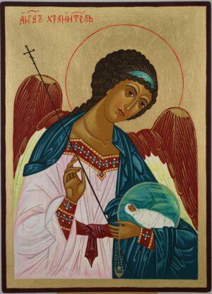 Guardian Angel Icon Hand Painted Byzantine Orthodox
