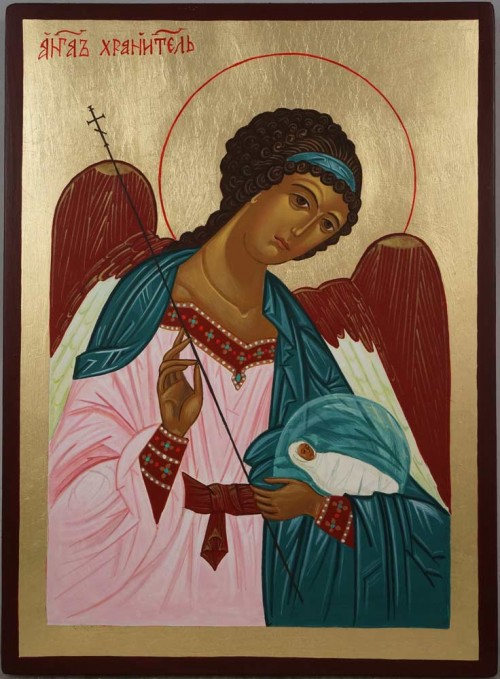 Hand-Painted Orthodox Icon of the Guardian Angel