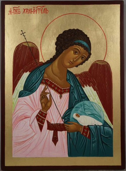 Hand-Painted Orthodox Icon of Guardian Angel