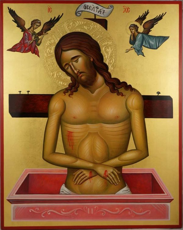 Christ in the Tomb (Cretan 15th c.) Hand-Painted Orthodox Icon