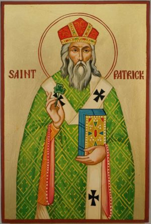 Saint Patrick of Ireland Hand Painted Orthodox Icon on Wood
