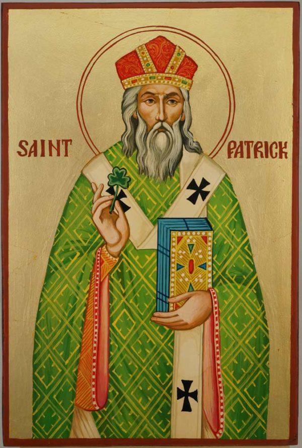 Saint Patrick of Ireland Hand Painted Orthodox Icon on Wood
