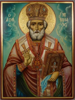 St Nicholas (decorated halo) Hand-Painted Greek Orthodox Icon