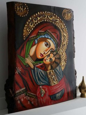 Virgin Mary and Child (Eleusa) Hand-Painted Orthodox Icon on Wood