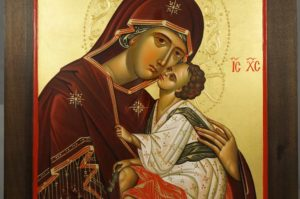 Virgin of Tenderness (carved wood) Hand-Painted Orthodox Icon