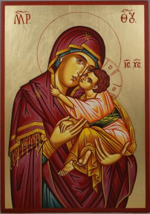 Madonna Eleusa Hand-Painted Greek Orthodox Icon