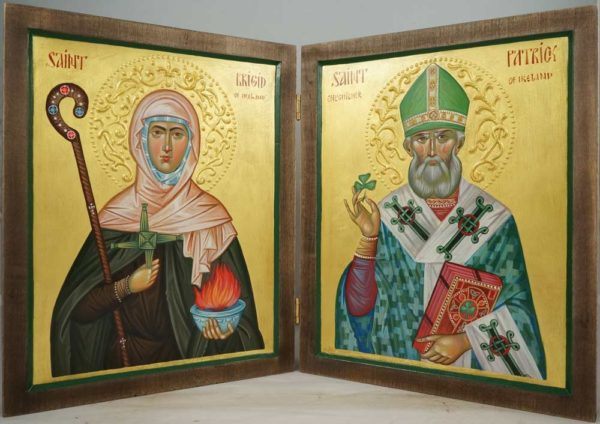Hand-Painted Orthodox Diptych - St Patrick and St Brigid of Ireland