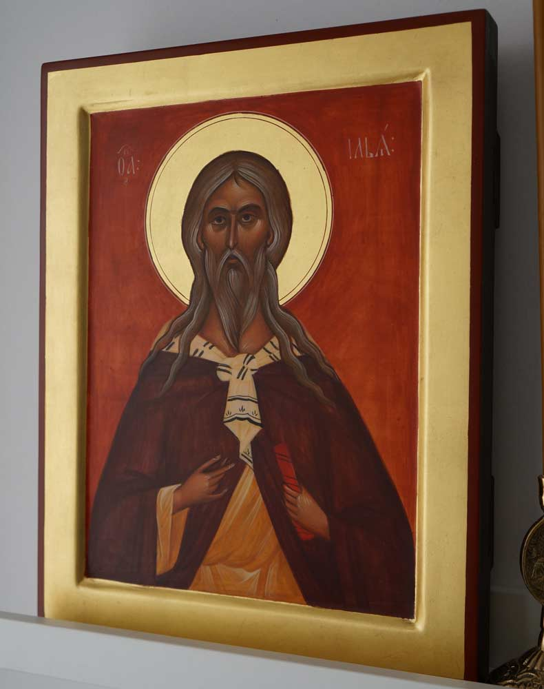 Holy Prophet Elijah Hand-Painted Russian Icon Novgorod school Tretyakov Gallery