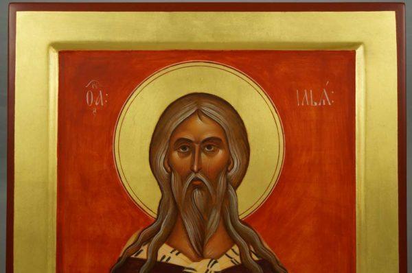 Holy Prophet Elijah Hand-Painted Russian Icon Novgorod school Tretyakov Gallery