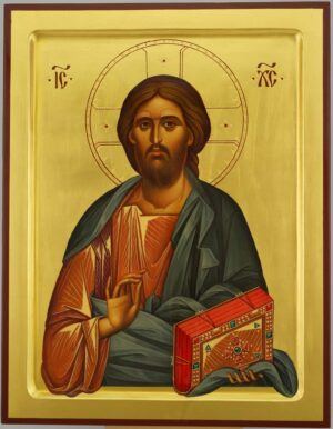 Jesus Christ Pantokrator raised border Icon Hand Painted Byzantine Orthodox