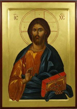 Hand-Painted Byzantine Icon of Jesus Christ Pantokrator