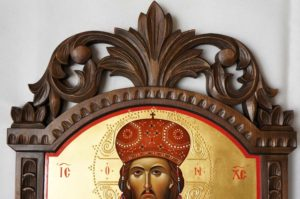 Hand-Painted Greek Orthodox Icon of Christ the Great High Priest (carved wood)