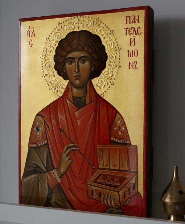 Hand-Painted Byzantine Icon of Saint Pantaleon (halo relief)