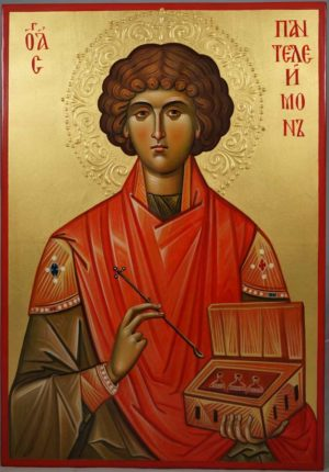 Hand-Painted Byzantine Icon of Saint Pantaleon (halo relief)