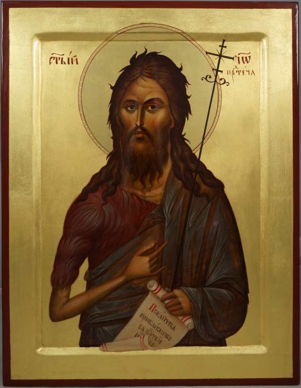 John the Forerunner (raised border) Hand-Painted Orthodox Icon