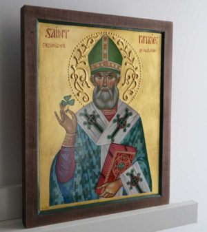 Hand-Painted Orthodox Icon of St Patrick Enlightener of Ireland