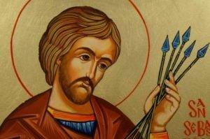 San Saint Sebastian Hand-Painted Orthodox Icon