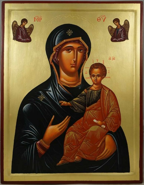 Hand-Painted Orthodox Icon of Theotokos the Guide (raised border)