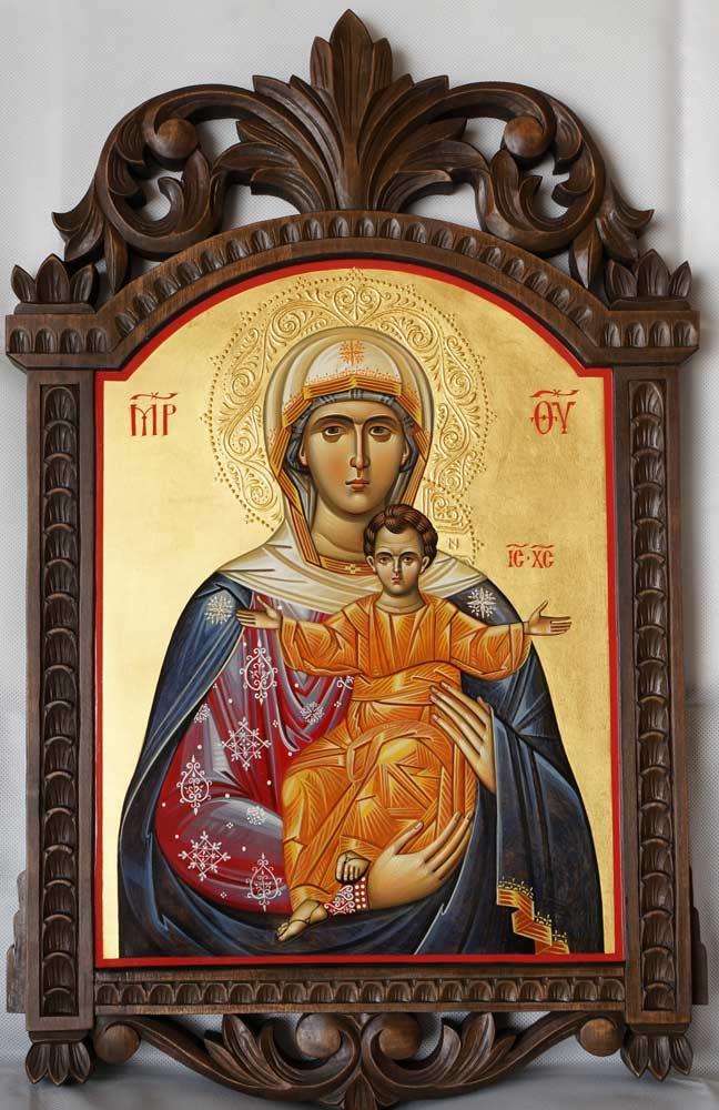 Hand-Painted Russian Orthodox Icon Virgin Mary Leushinskaya (carved wood)
