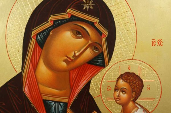 Hand-Painted Orthodox Icon of Tikhvin Mother of God (raised border)