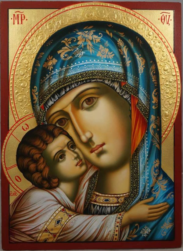 The Virgin Eleusa (halo relief) Hand-Painted Orthodox Icon