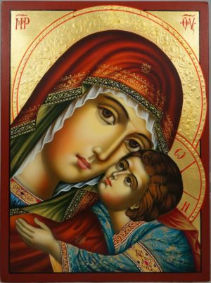 Virgin Mary Glykofilousa (halo relief) Hand-Painted Orthodox Icon