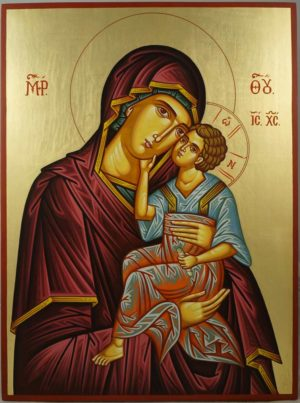 Hand-Painted Orhtodox Icon of Virgin Mary Tender Mercy